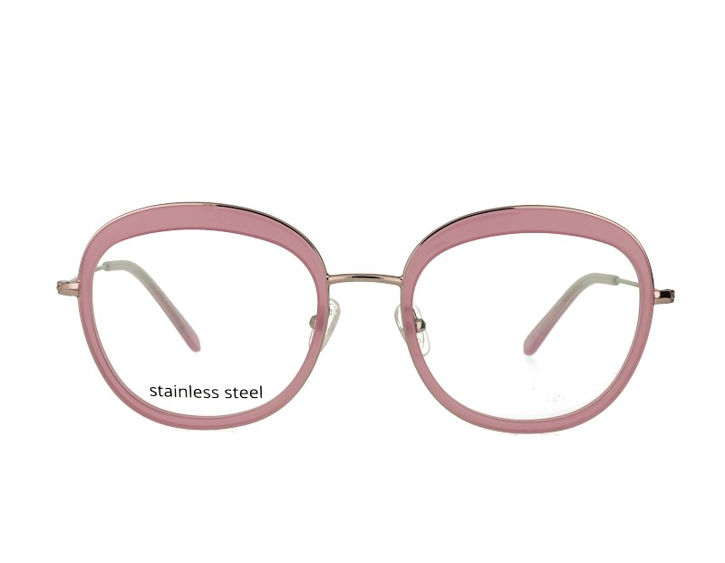 Big thick round woman acetate and metal combination optical frames spectacles