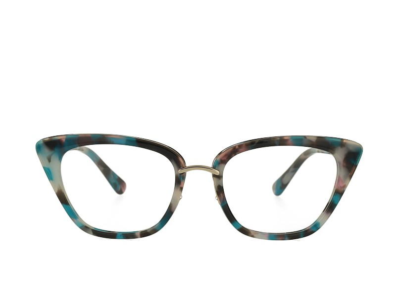 cat eye acetate and metal combination eyeglasses frame