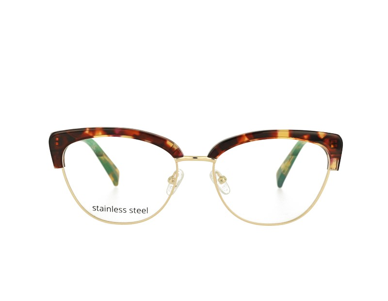 Cat eye Acetate and stainless steel combination optical frame prescription spectacles