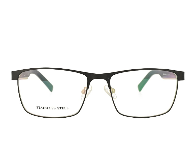 Rectangle Man's Stainless Steel Optical Frame Acetate Temple