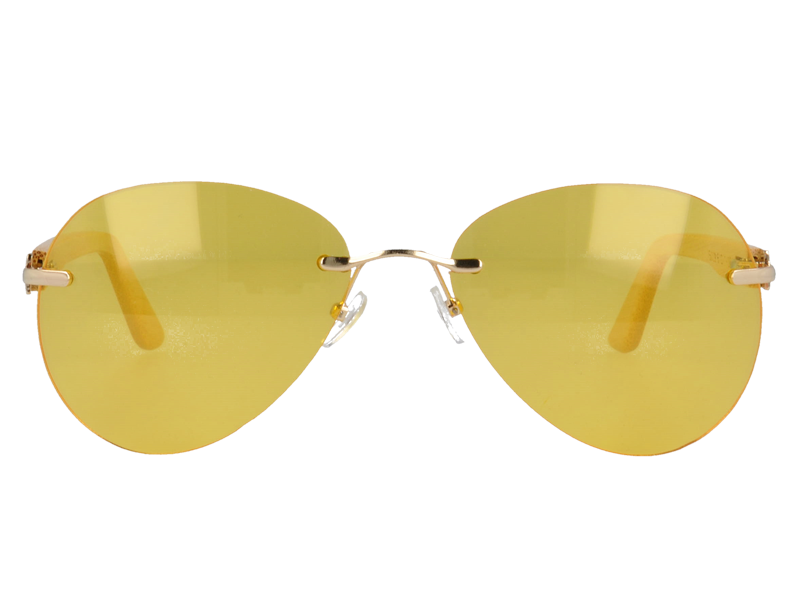 UV400 Rimless Sunglasses with bamboo Temples