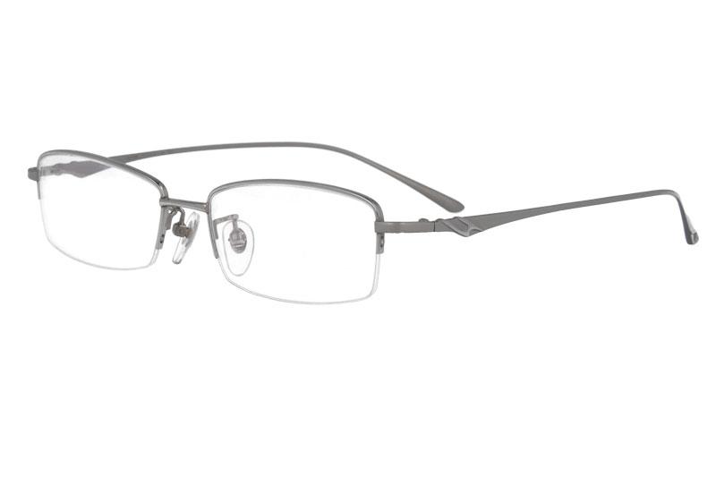 100% Titanium Glasses Frame Men Half Rim Rectangle Optical Frame