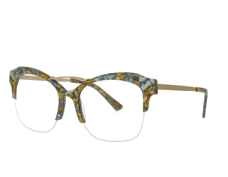 Cat eye Acetate and stainless steel combination eyeglasses eyewear