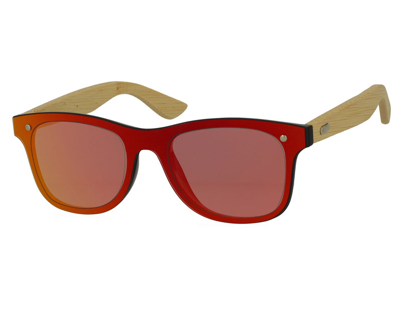 Integrated Mirror Lens Plastic Sunglasses with Bamboo Temples