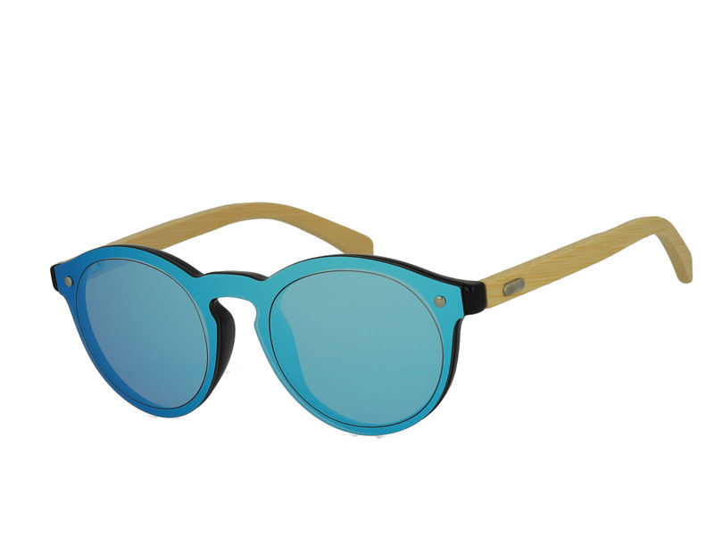 Integrated Oval Mirror Lens Plastic Sunglasses with Bamboo Temples