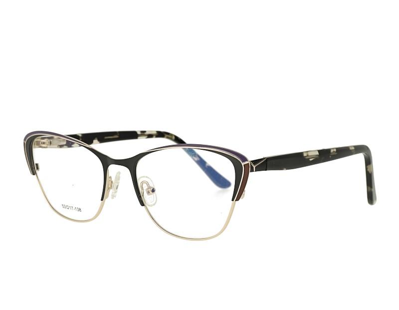 Metal Optical Eyewear Cat Eye Shape Acetate Temple