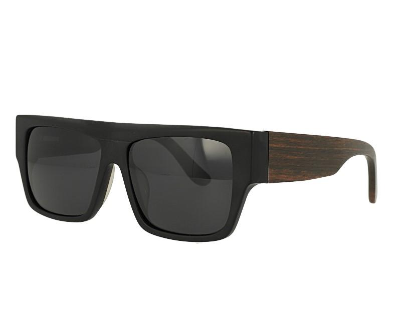 Rectangel Acetate Front wood temple Sunglasses