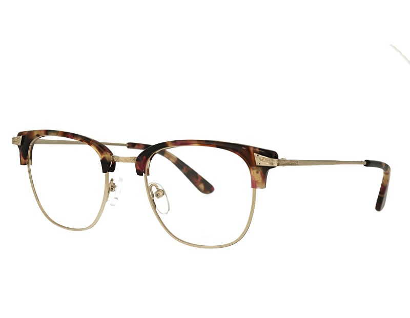 Retro Square acetate and metal combination eyeglasses frame