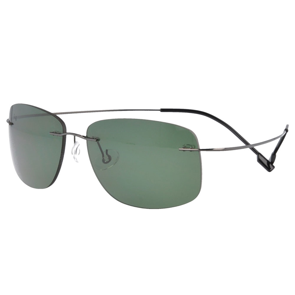 Rimless memory Titanium Polycarbonate Polarized Sunglasses