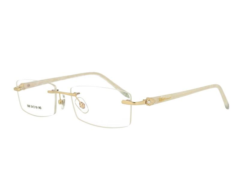 Rimless woman's metal Optical frame Eyewear with crystal acetate temples