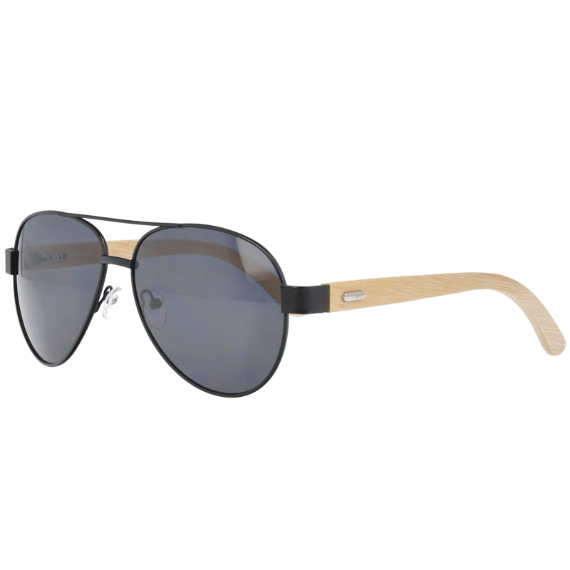 UV400 Aviator Sunglasses with bamboo Temples