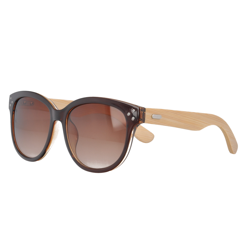UV400 PC Plastic Sunglasses with bamboo Temples