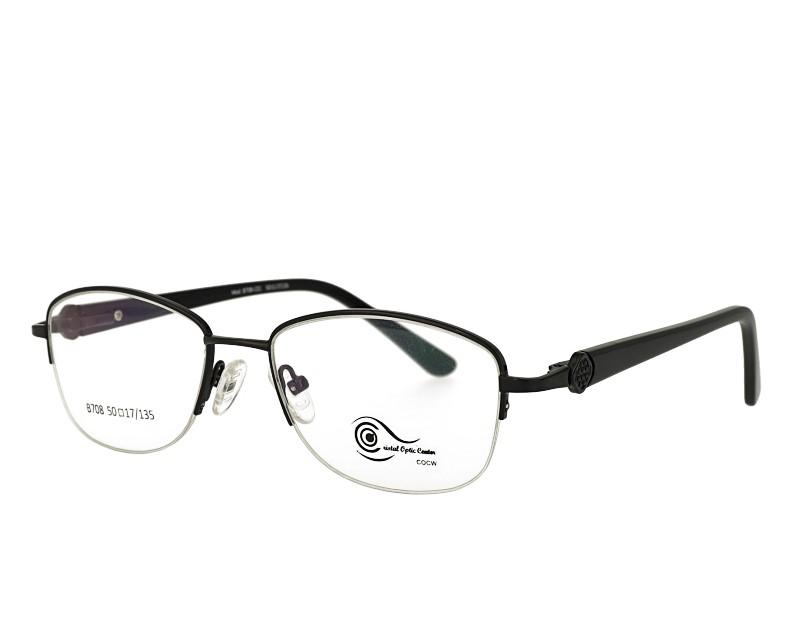 Unisex half rim stainless steel  metal eyeglasses