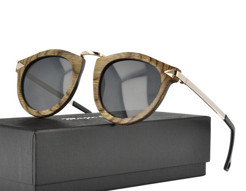 Vintage Nature Zebra Wood and metal Combination Sunglasses