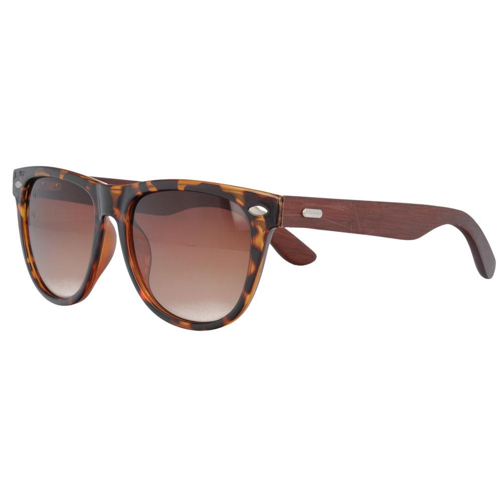 Wayfarer Plastic Sunglasses with wood Temples