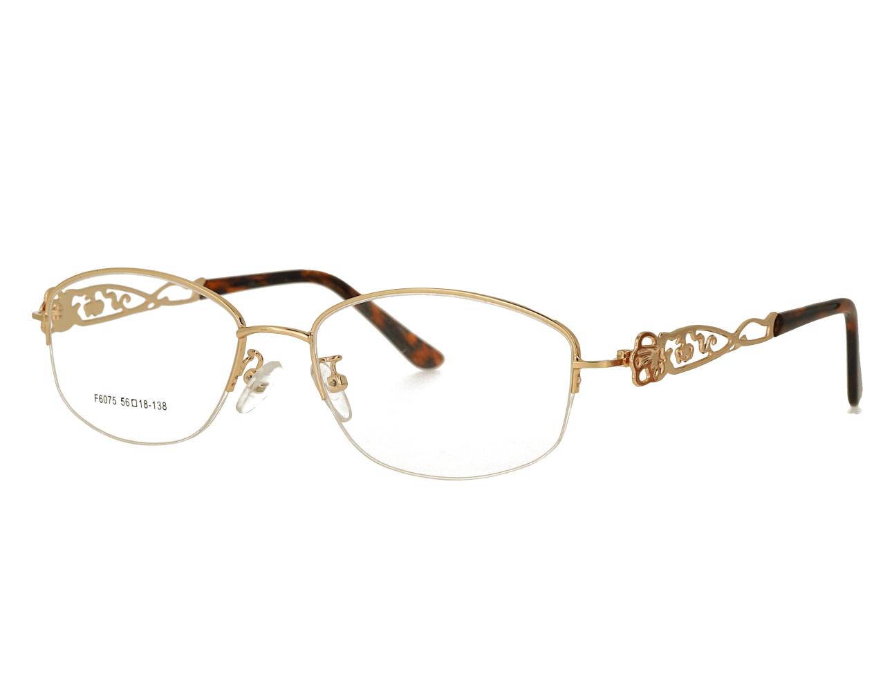 Woman's half rim Metal Frame hollowing design Optical Glasses