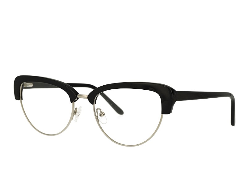 retro cat eye acetate and metal mixed eyeglasses