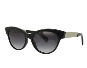 Cat Eye Acetate Frame Stainless Steel Temple Sunglasses