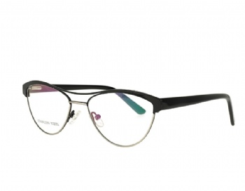 Cat Eye Double Bridge Metal Optical Frame acetate Temple