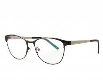 Cat Eye Full Rim Metal Frame with Acetate Tip Eyewear Spring Hinge