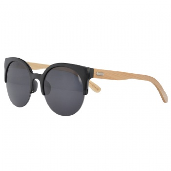 Cat Eye Half rim UV400 Sunglasses with bamboo Temples