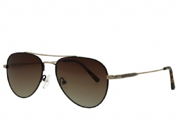 Double Bridge Aviator Polarized Gradient Grey Brown Sunglasses Eyewear