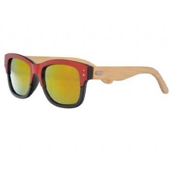 Double Color UV400 Sunglasses with bamboo Temples