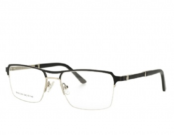 Half rim Double bridge metal frame with acetate temples with spring hinge