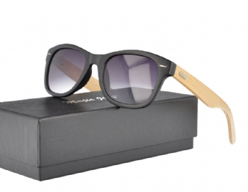 J0193 Wayfarer Plastic Sunglasses with Bamboo Temples
