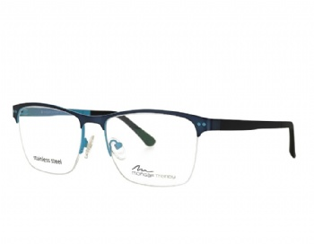 Man  rectangle metal frame with ultem temples eyeglasses