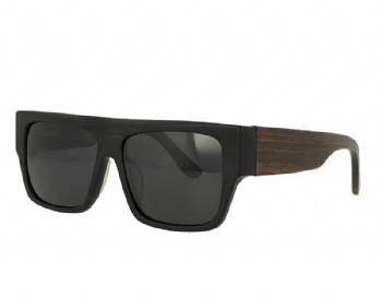 Rectangel Acetate Front wood temple Sunglasses