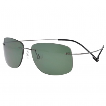 Rimless memory Titanium Polycarbonate Polarized Sunglasses