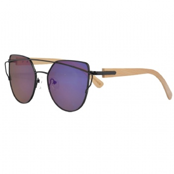 UV400 Metal Sunglasses with bamboo Temples