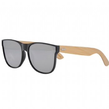 Unisex Mirror Lens Plastic Sunglasses with Bamboo Temples