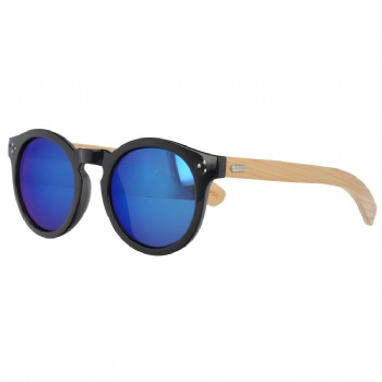 Unisex Vintage Mirror Lens Plastic Sunglasses with Bamboo Temples
