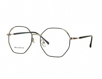 Woman's full rim Retro hexagon metal optical Frame