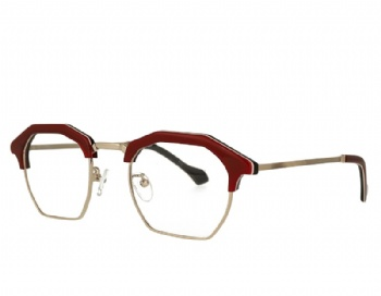 unisex hexagon acetate and metal combination eyeglasses eyewear